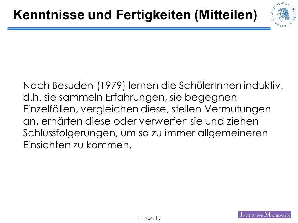 von 1511 Kenntnisse und Fertigkeiten (Mitteilen) Nach Besuden (1979) lernen die SchülerInnen induktiv, d.h. sie sammeln Erfahrungen, sie begegnen Einz
