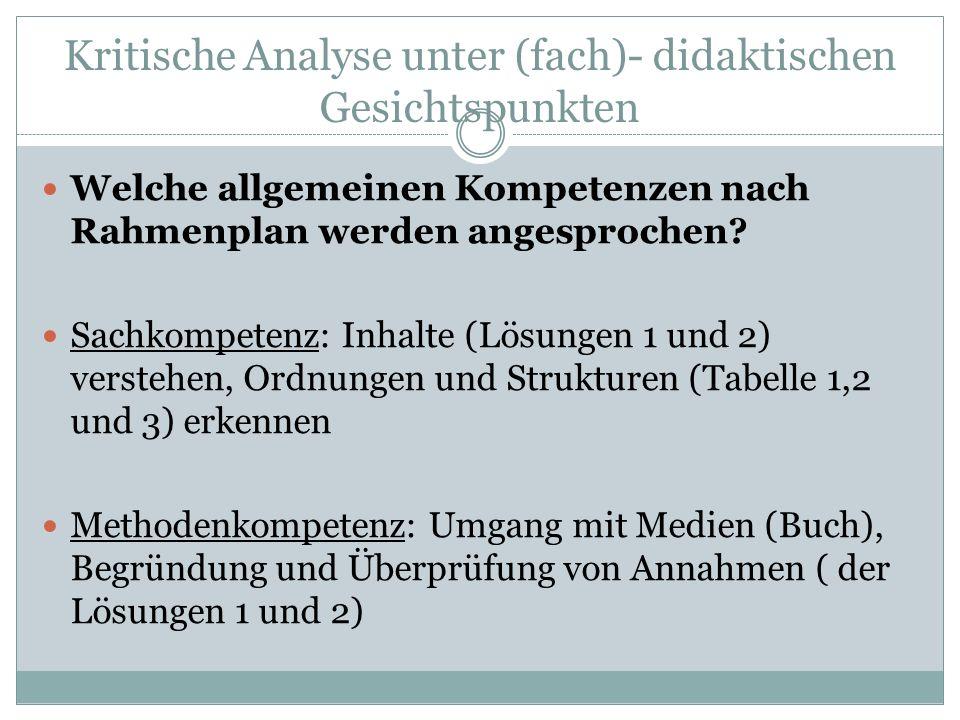 Kritische Analyse unter (fach)- didaktischen Gesichtspunkten Soziale Kompetenz: Eingehen auf (Buch-)Argumente Personale Kompetenz: Entscheidungen fällen und begründen (Lohnt sich das Spielen von Glücksautomaten.