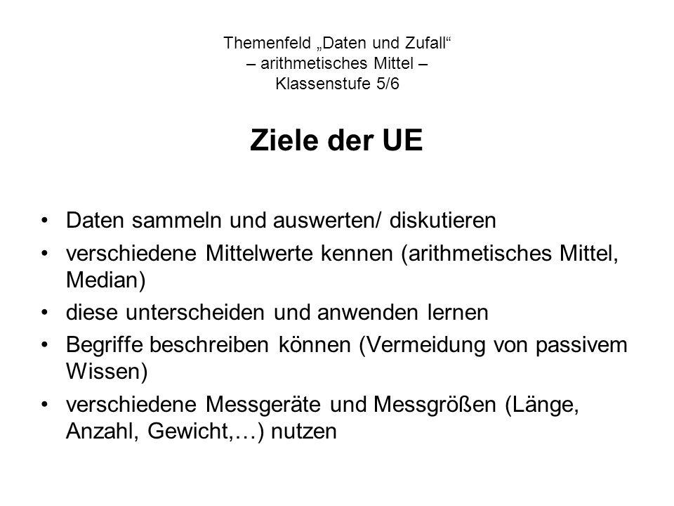 Themenfeld Daten und Zufall – arithmetisches Mittel – Klassenstufe 5/6 Ziele der UE Daten sammeln und auswerten/ diskutieren verschiedene Mittelwerte