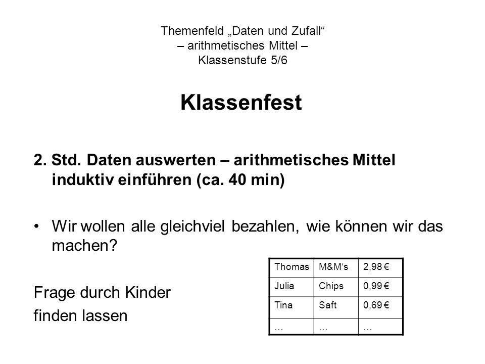 Themenfeld Daten und Zufall – arithmetisches Mittel – Klassenstufe 5/6 Klassenfest 2. Std. Daten auswerten – arithmetisches Mittel induktiv einführen