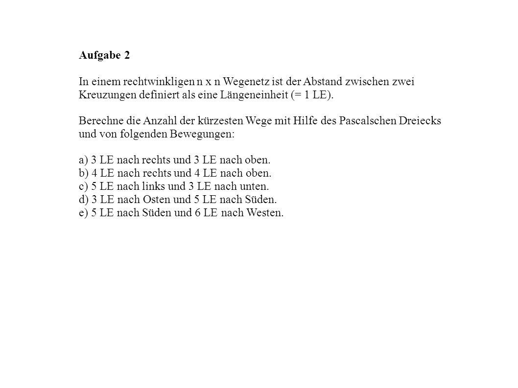 Aufgabe 2 In einem rechtwinkligen n x n Wegenetz ist der Abstand zwischen zwei Kreuzungen definiert als eine Längeneinheit (= 1 LE). Berechne die Anza