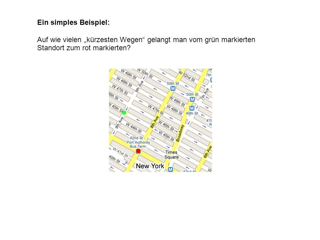 Ein simples Beispiel: Auf wie vielen kürzesten Wegen gelangt man vom grün markierten Standort zum rot markierten?