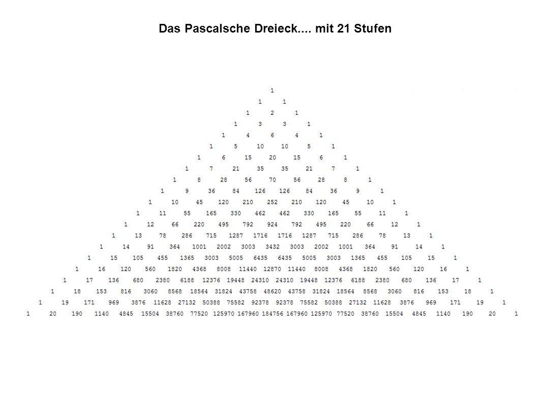 Das Pascalsche Dreieck.... mit 21 Stufen