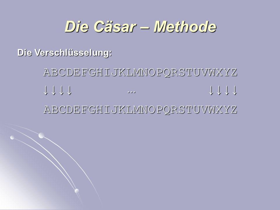 Die Cäsar – Methode Bereits im alten Rom wurden Nachrichten verschlüsselt um sie für Fremde unlesbar zu machen. Die Methode ist kinderleicht und daher