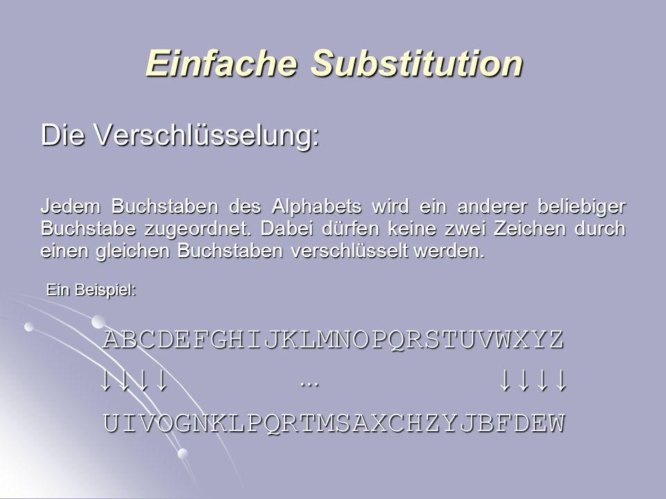 Einfache Substitution Die Verschlüsselung: Jedem Buchstaben des Alphabets wird ein anderer beliebiger Buchstabe zugeordnet.