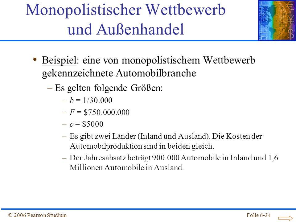 © 2006 Pearson StudiumFolie 6-34 Beispiel: eine von monopolistischem Wettbewerb gekennzeichnete Automobilbranche –Es gelten folgende Größen: –b = 1/30.000 –F = $750.000.000 –c = $5000 –Es gibt zwei Länder (Inland und Ausland).