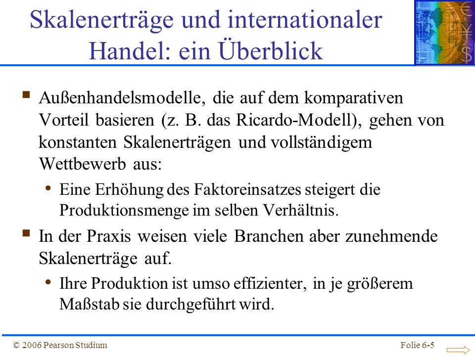 © 2006 Pearson StudiumFolie 6-26 PP Preis, P Anzahl der Unternehmen, n P3P3 n2n2 Abbildung 6.3: Marktgleichgewicht bei monopolistischen Wettbewerb Die Theorie des unvollständigen Wettbewerbs P2P2 P1P1 n1n1 n3n3