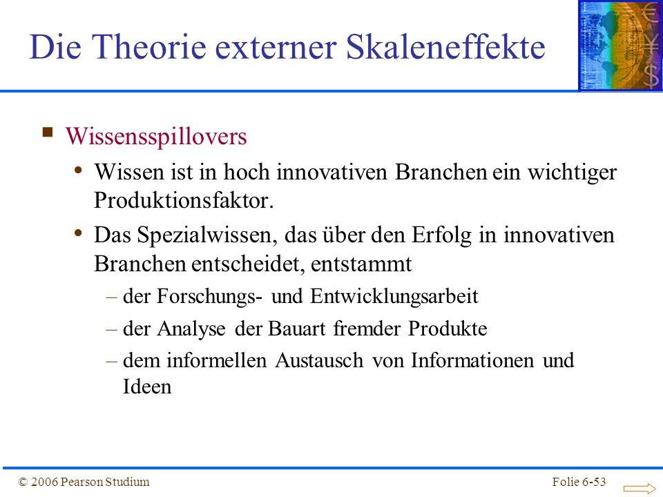 © 2006 Pearson StudiumFolie 6-53 Wissensspillovers Wissen ist in hoch innovativen Branchen ein wichtiger Produktionsfaktor.