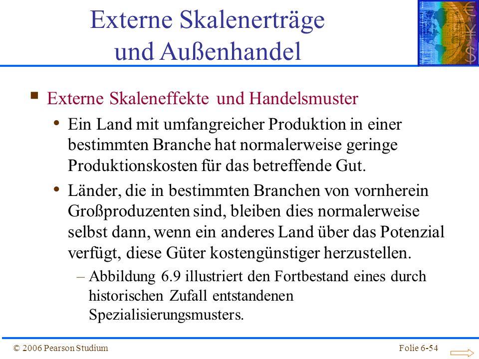 © 2006 Pearson StudiumFolie 6-54 Externe Skaleneffekte und Handelsmuster Ein Land mit umfangreicher Produktion in einer bestimmten Branche hat normalerweise geringe Produktionskosten für das betreffende Gut.