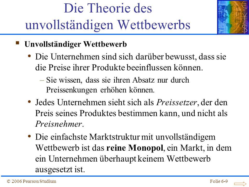 © 2006 Pearson StudiumFolie 6-20 wobei: – Q: der Absatz des Unternehmens – S: der Gesamtabsatz der Branche – N: die Anzahl der Unternehmen in der Branche – B: eine Konstante für Absatzänderungen infolge von Preisänderungen des Unternehmens – P: der von dem Unternehmen verlangte Preis – Angenommen die Nachfrage, der ein Unternehmen unter diesen Voraussetzungen begegnet, kann durch folgende Gleichung beschrieben werden: Q = S x [1/n – b x (P – P )] (6.5) Die Theorie des unvollständigen Wettbewerbs – P: der Durchschnittspreis seiner Konkurrenten ist.