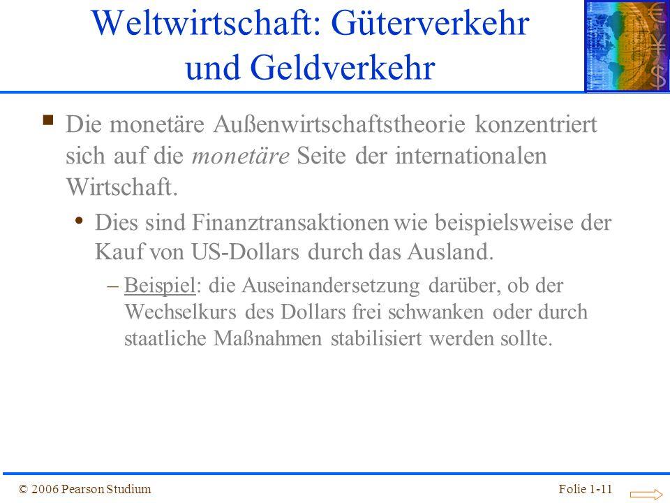 © 2006 Pearson StudiumFolie 1-11 Die monetäre Außenwirtschaftstheorie konzentriert sich auf die monetäre Seite der internationalen Wirtschaft. Dies si