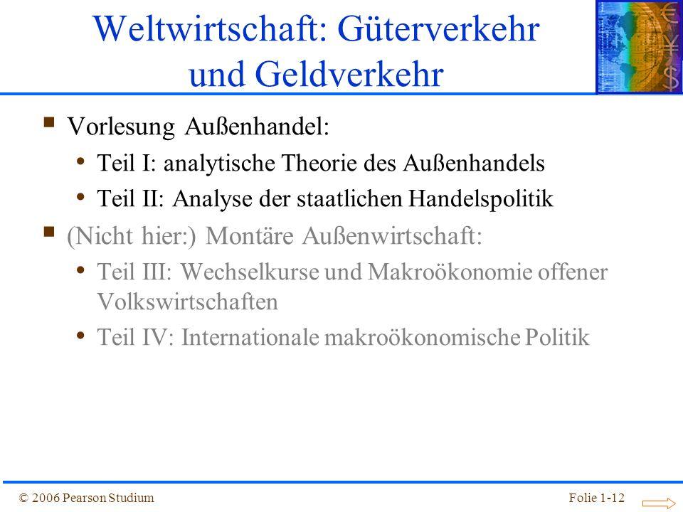 © 2006 Pearson StudiumFolie 1-12 Vorlesung Außenhandel: Teil I: analytische Theorie des Außenhandels Teil II: Analyse der staatlichen Handelspolitik (