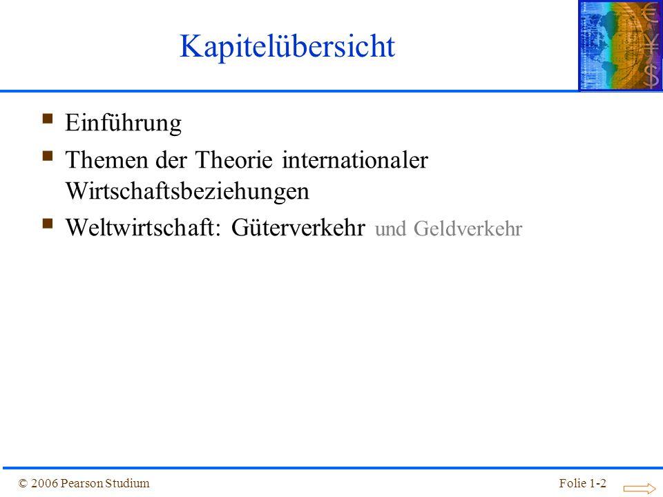© 2006 Pearson StudiumFolie 1-2 Kapitelübersicht Einführung Themen der Theorie internationaler Wirtschaftsbeziehungen Weltwirtschaft: Güterverkehr und