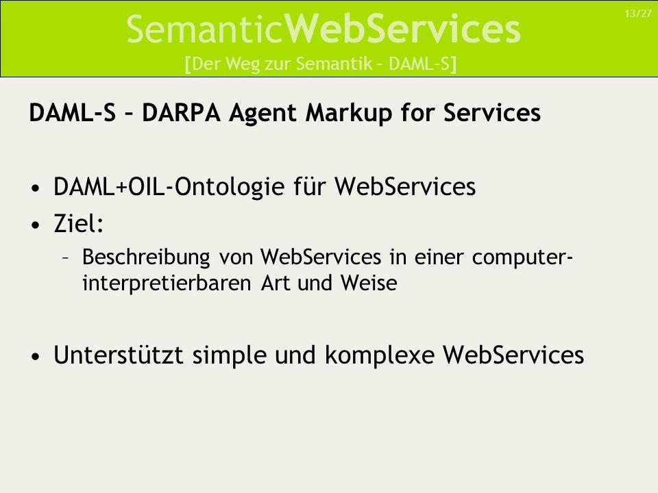 Semantic WebServices DAML-S – DARPA Agent Markup for Services DAML+OIL-Ontologie für WebServices Ziel: –Beschreibung von WebServices in einer computer