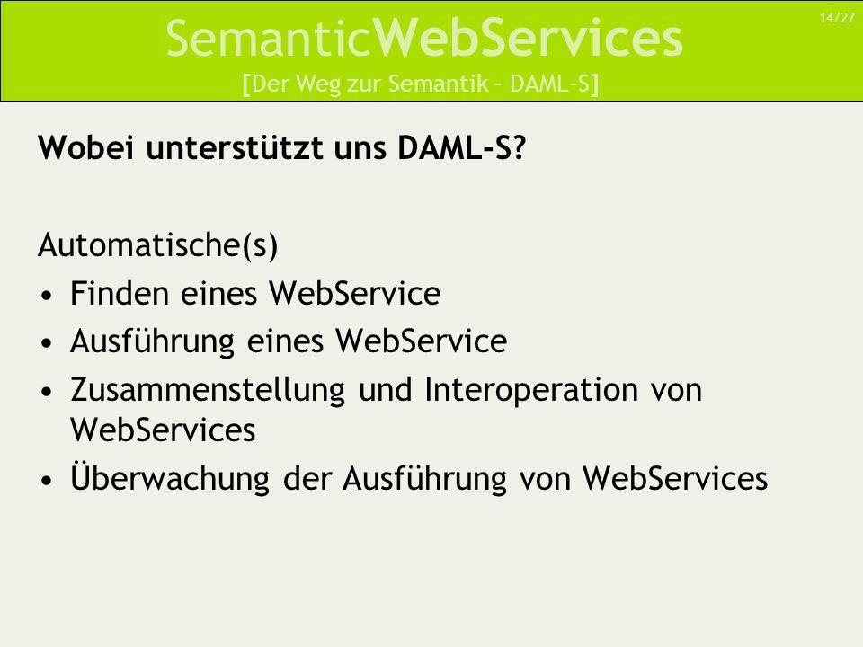 Semantic WebServices Wobei unterstützt uns DAML-S? Automatische(s) Finden eines WebService Ausführung eines WebService Zusammenstellung und Interopera