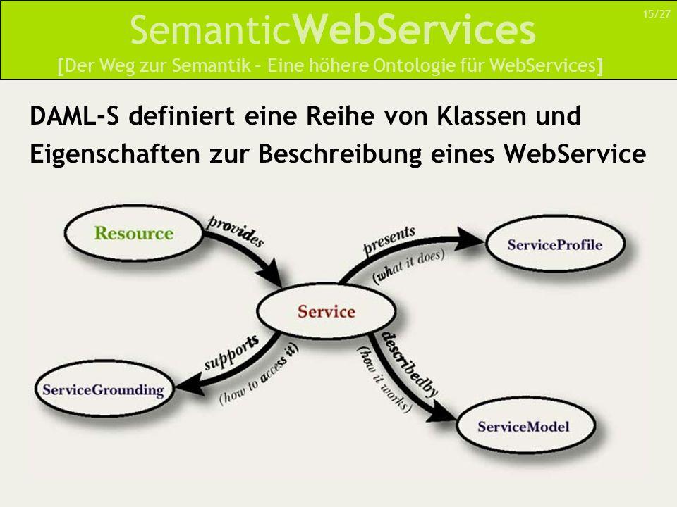 Semantic WebServices DAML-S definiert eine Reihe von Klassen und Eigenschaften zur Beschreibung eines WebService [Der Weg zur Semantik – Eine höhere Ontologie für WebServices] 15/27
