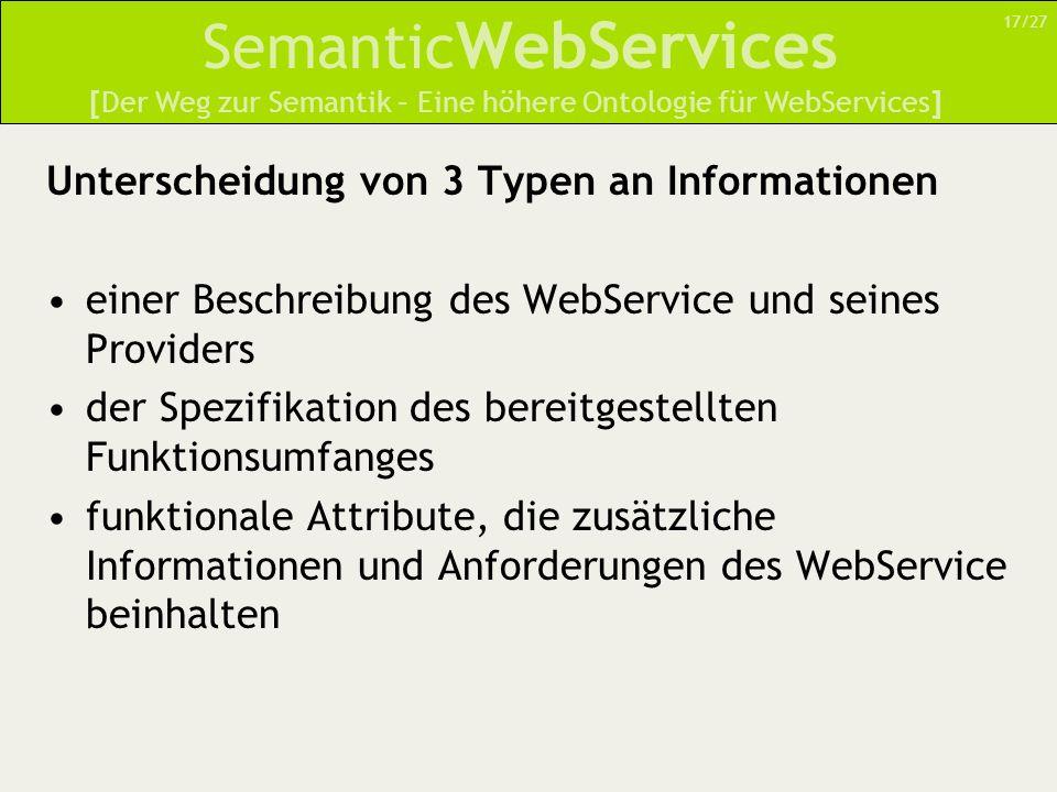 Semantic WebServices Unterscheidung von 3 Typen an Informationen einer Beschreibung des WebService und seines Providers der Spezifikation des bereitgestellten Funktionsumfanges funktionale Attribute, die zusätzliche Informationen und Anforderungen des WebService beinhalten [Der Weg zur Semantik – Eine höhere Ontologie für WebServices] 17/27