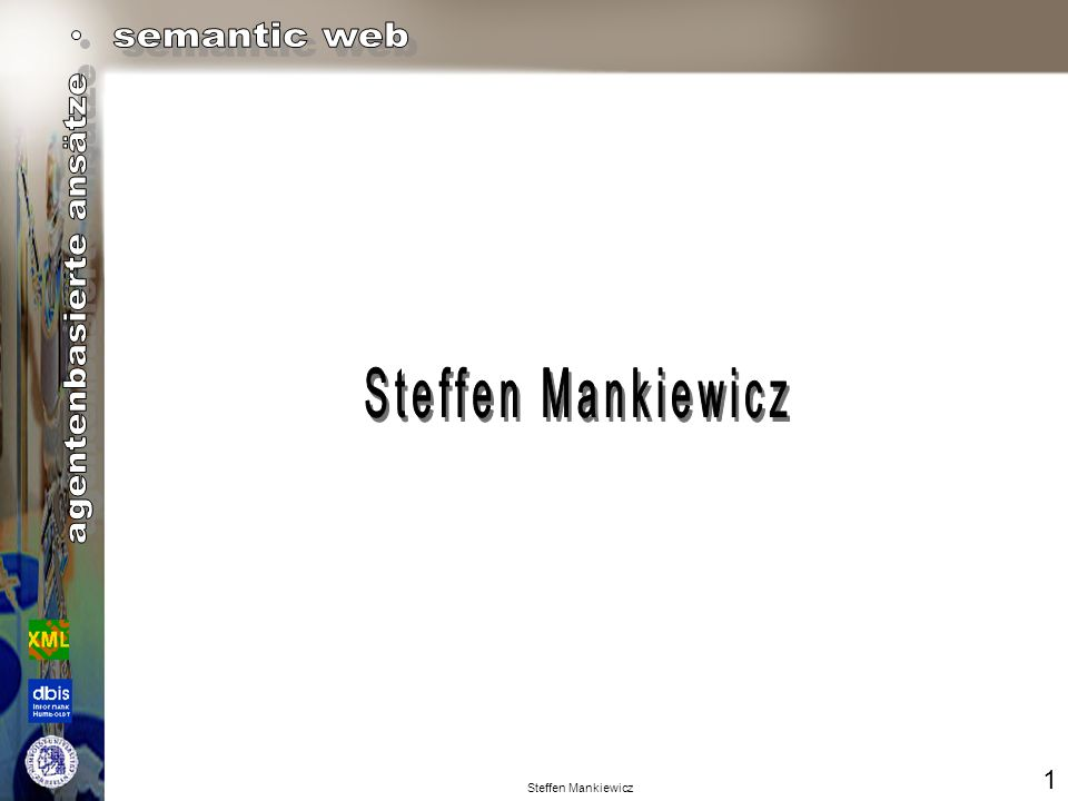 Steffen Mankiewicz (PACKAGE :FROM agent2 :TO agent 1 :ID QRT-f00711883w.84921848648 :COMM block:CONTENT (MSG :TYPE reply :QUALIFIERS (:number-answers 1) :CONTENT-LANGUAGE KIF :CONTENT-ONTOLOGY (blocksWorld) :CONTENT-TOPIC (physical-properties) :CONTENT (farbe sonne gelb) )) Techniken der Kommunikation Agent to Agent KQML: (PACKAGE :FROM agent1 :TO agent 2 :ID DVL-f00711883w.84921848648 :COMM block:CONTENT (MSG :TYPE query :QUALIFIERS (:number-answers 1) :CONTENT-LANGUAGE KIF :CONTENT-ONTOLOGY (blocksWorld) :CONTENT-TOPIC (physical-properties) :CONTENT (farbe sonne ?C) )) (farbe sonne gelb) (temperatur berlin 17.2 ) KIF: 11