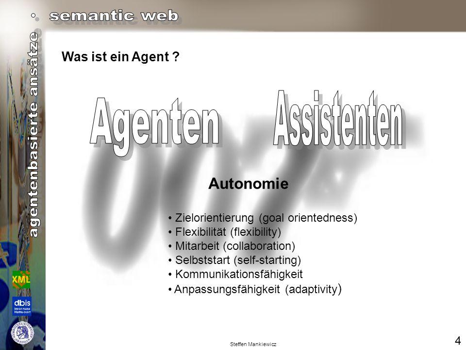 Steffen Mankiewicz Intelligente Agenten sind Softwareeinheiten, die eine Menge von Operationen im Auftrag eines Benutzers oder eines anderen Programms mit einem gewissen Grad von Unabhängigkeit oder Autonomie ausführen und dabei Wissen über die Ziele und Wünsche des Benutzers anwenden.