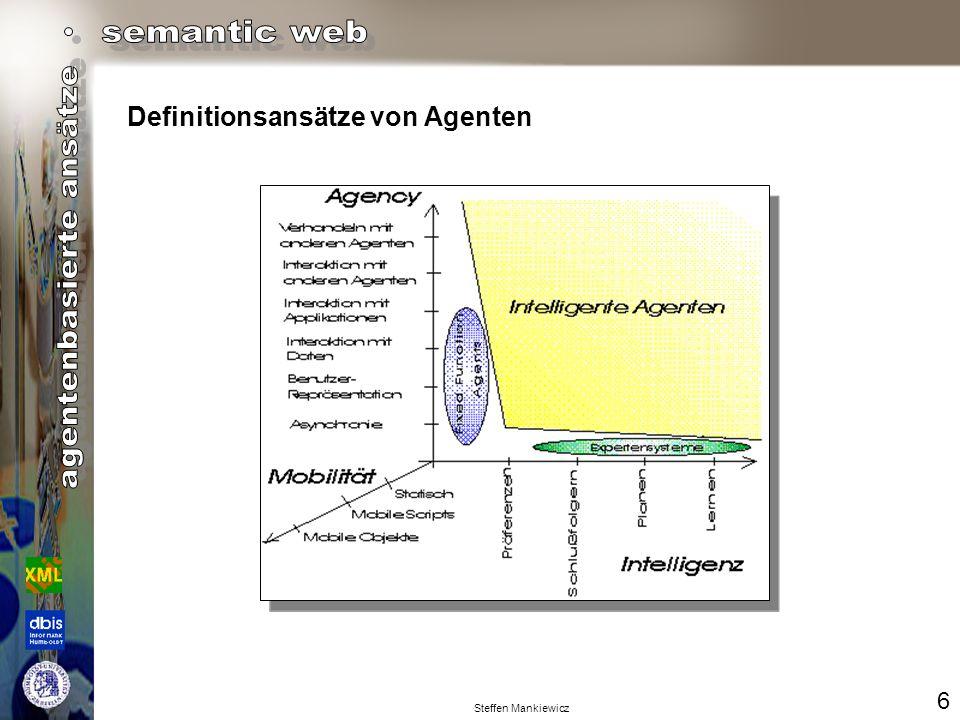 Steffen Mankiewicz Ein Agent ist ein Programm, das mit dem (einzelnen) Endbenutzer interagiert und ihm assistiert.