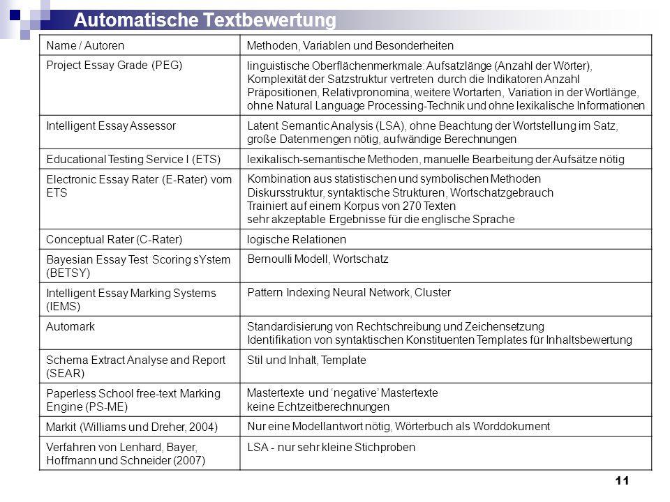 11 Automatische Textbewertung Name / AutorenMethoden, Variablen und Besonderheiten Project Essay Grade (PEG)linguistische Oberflächenmerkmale: Aufsatz