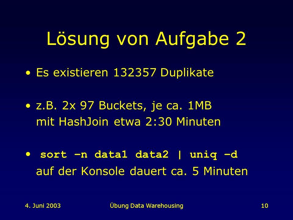 4. Juni 2003Übung Data Warehousing10 Lösung von Aufgabe 2 Es existieren 132357 Duplikate z.B. 2x 97 Buckets, je ca. 1MB mit HashJoin etwa 2:30 Minuten