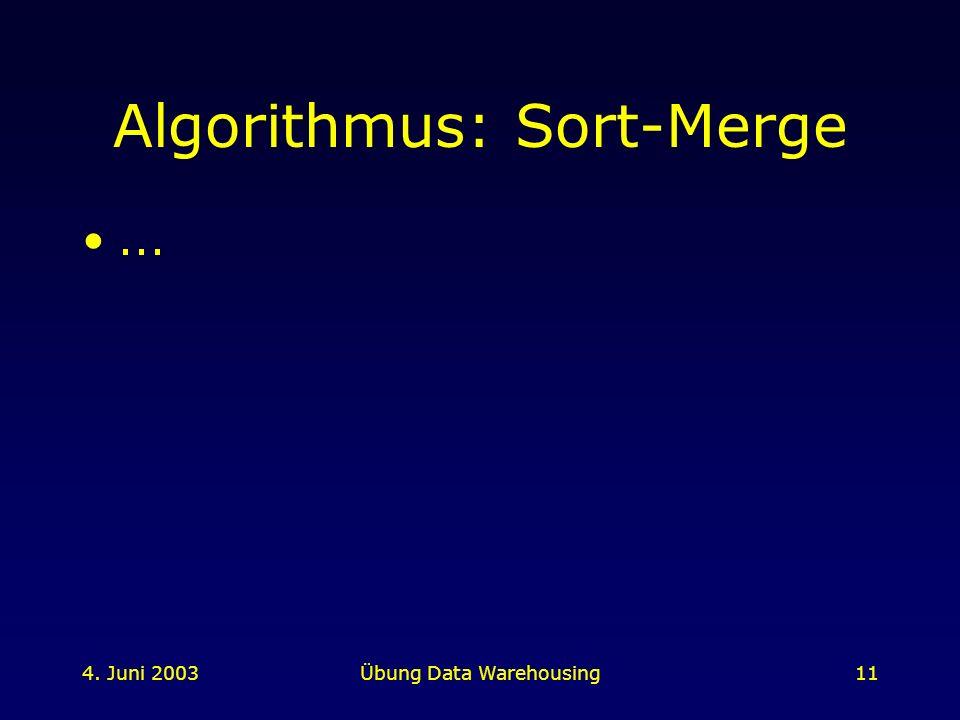 4. Juni 2003Übung Data Warehousing11 Algorithmus: Sort-Merge...
