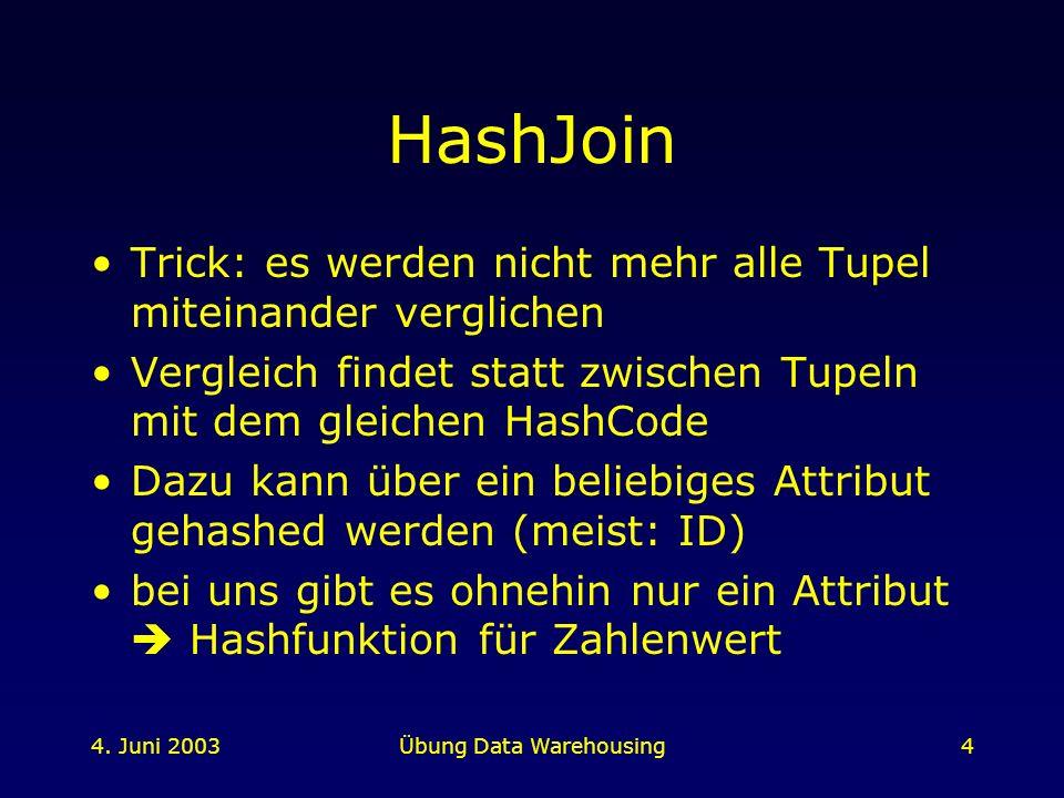 4. Juni 2003Übung Data Warehousing4 HashJoin Trick: es werden nicht mehr alle Tupel miteinander verglichen Vergleich findet statt zwischen Tupeln mit