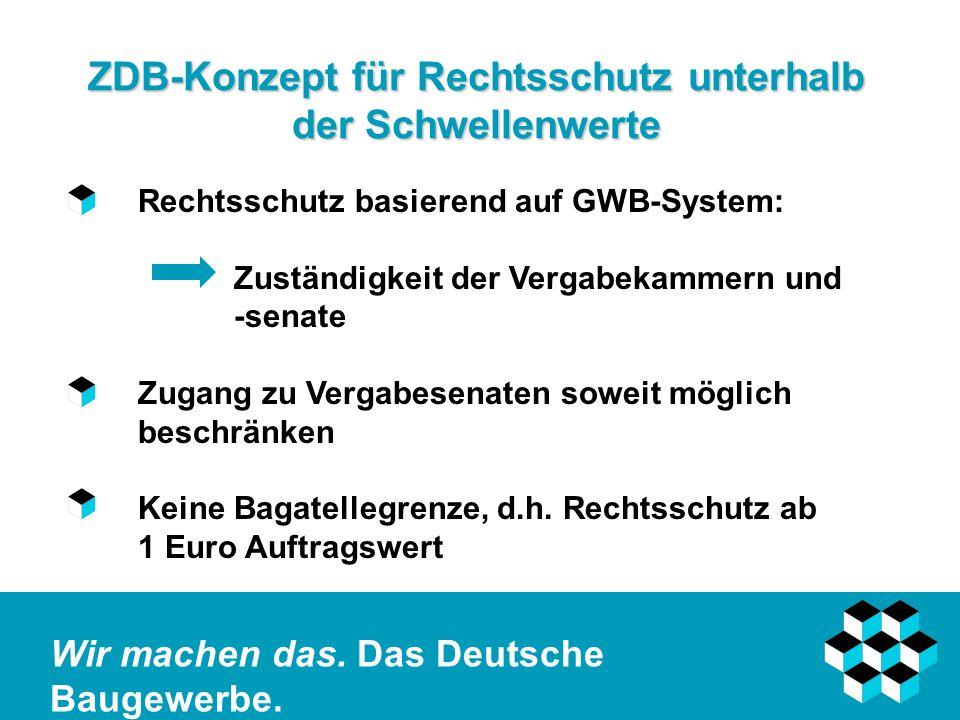 Wir machen das. Das Deutsche Baugewerbe. ZDB-Konzept für Rechtsschutz unterhalb der Schwellenwerte Rechtsschutz basierend auf GWB-System: Zuständigkei