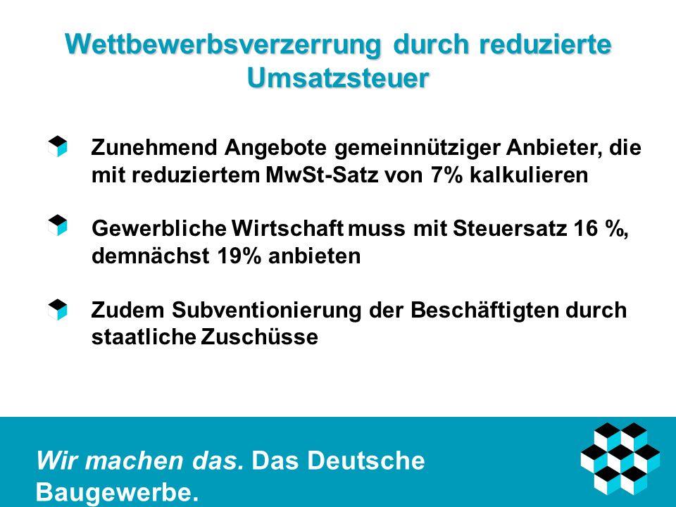 Wir machen das. Das Deutsche Baugewerbe. Wettbewerbsverzerrung durch reduzierte Umsatzsteuer Zunehmend Angebote gemeinnütziger Anbieter, die mit reduz