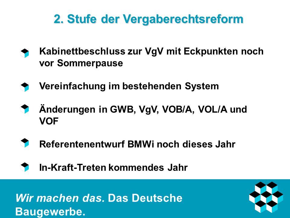Wir machen das. Das Deutsche Baugewerbe. 2. Stufe der Vergaberechtsreform Kabinettbeschluss zur VgV mit Eckpunkten noch vor Sommerpause Vereinfachung