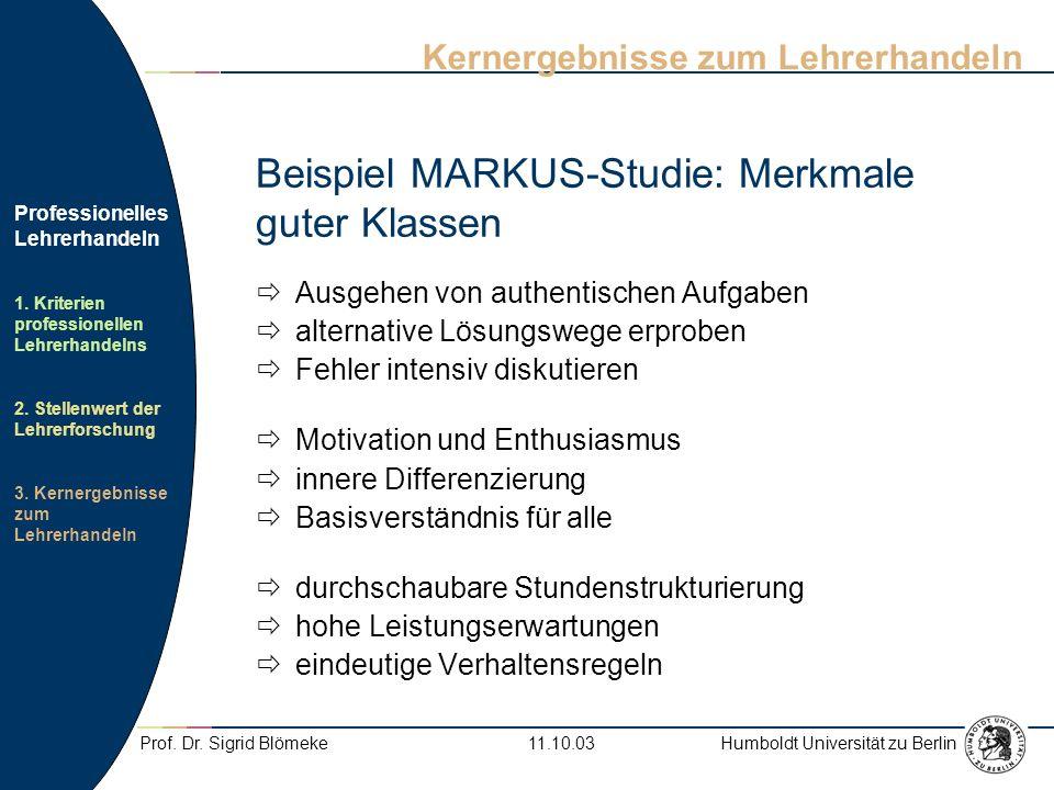 Humboldt Universität zu Berlin Professionelles Lehrerhandeln 1.