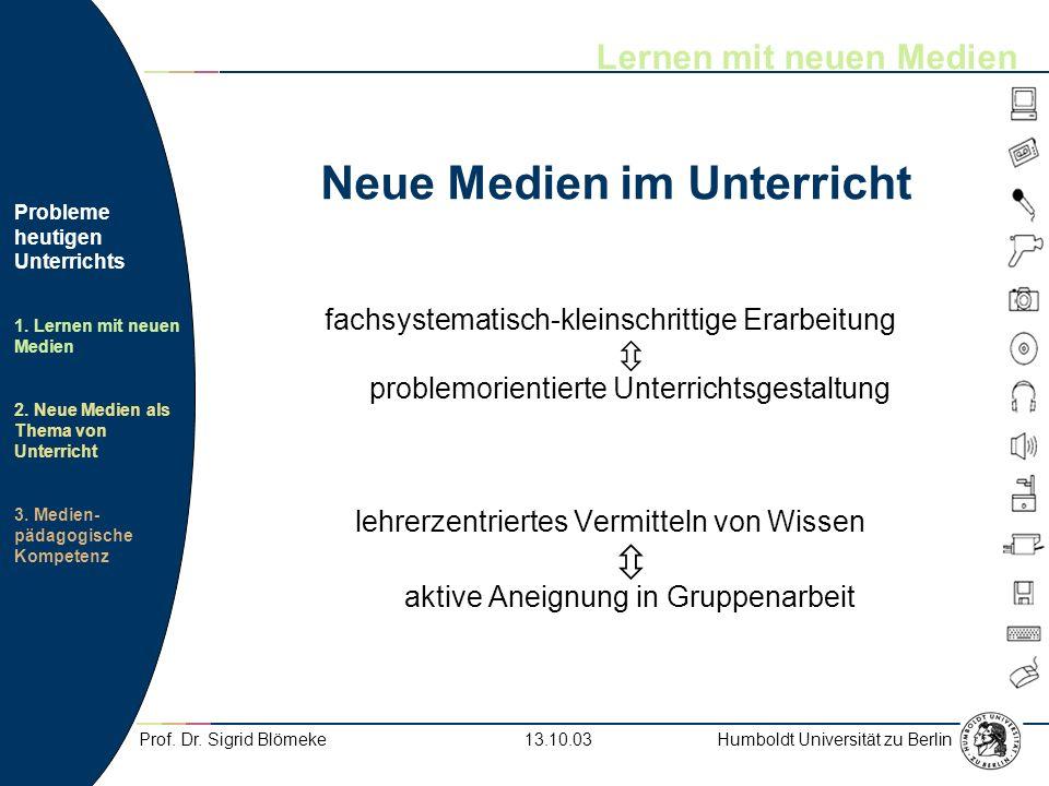 Humboldt Universität zu Berlin Probleme heutigen Unterrichts 1. Lernen mit neuen Medien 2. Neue Medien als Thema von Unterricht 3. Medien- pädagogisch