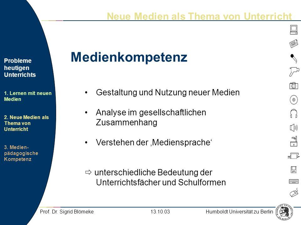Humboldt Universität zu Berlin Probleme heutigen Unterrichts 1.