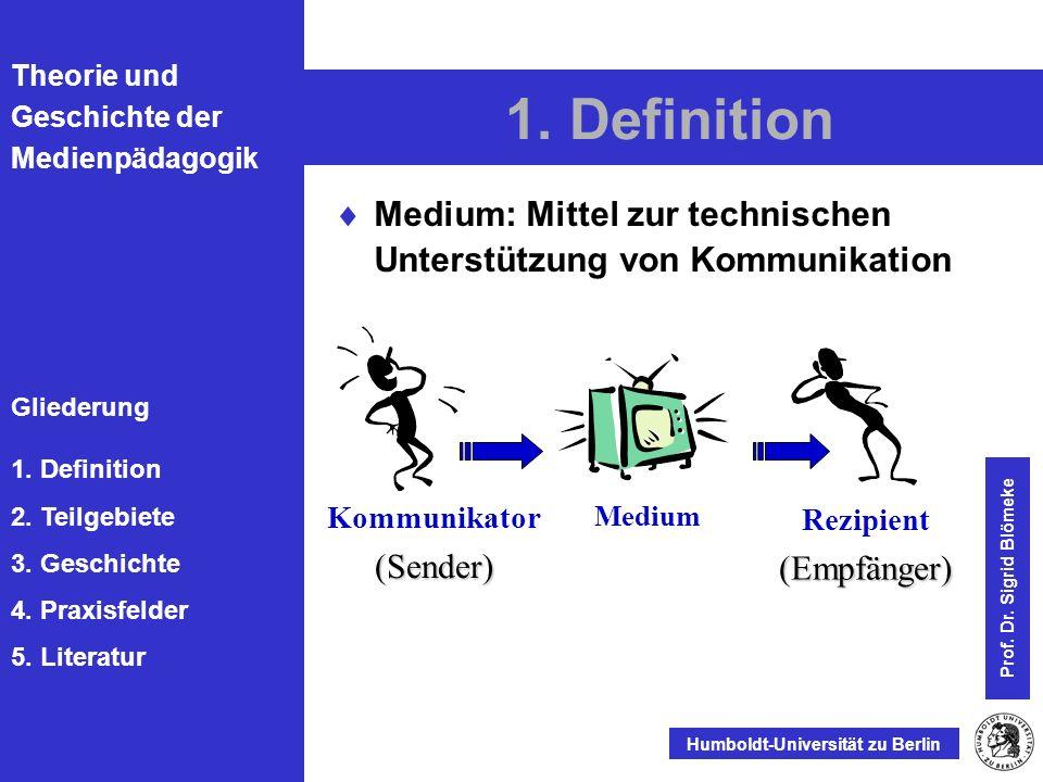 Gliederung 1. Definition 2. Teilgebiete 3. Geschichte 4. Praxisfelder 5. Literatur Humboldt-Universität zu Berlin Prof. Dr. Sigrid Blömeke 1. Definiti