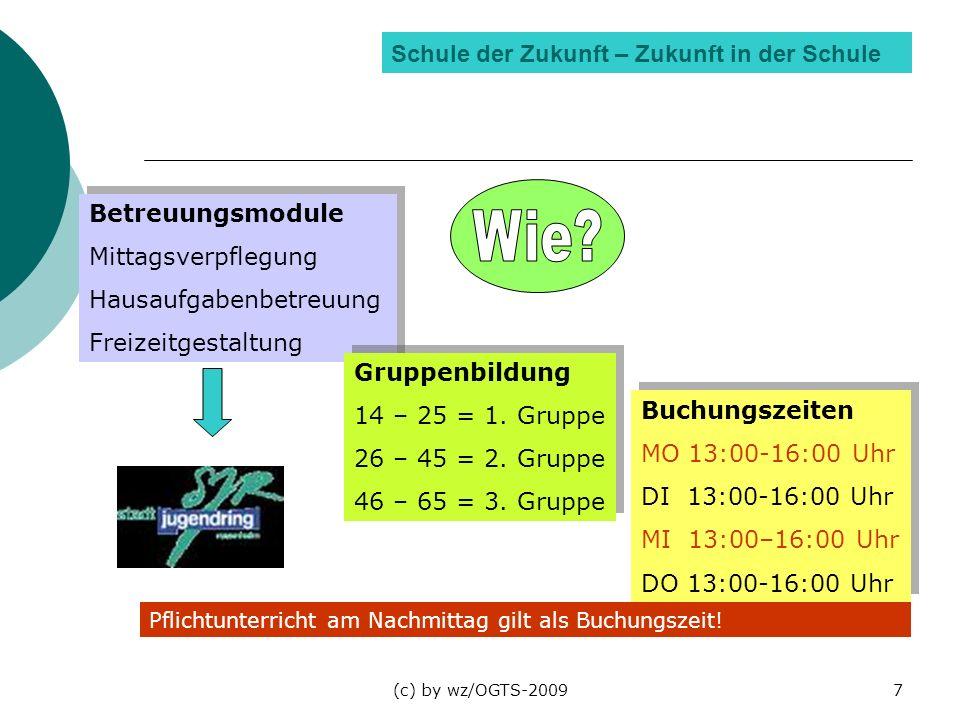 (c) by wz/OGTS-20097 Schule der Zukunft – Zukunft in der Schule Betreuungsmodule Mittagsverpflegung Hausaufgabenbetreuung Freizeitgestaltung Betreuung