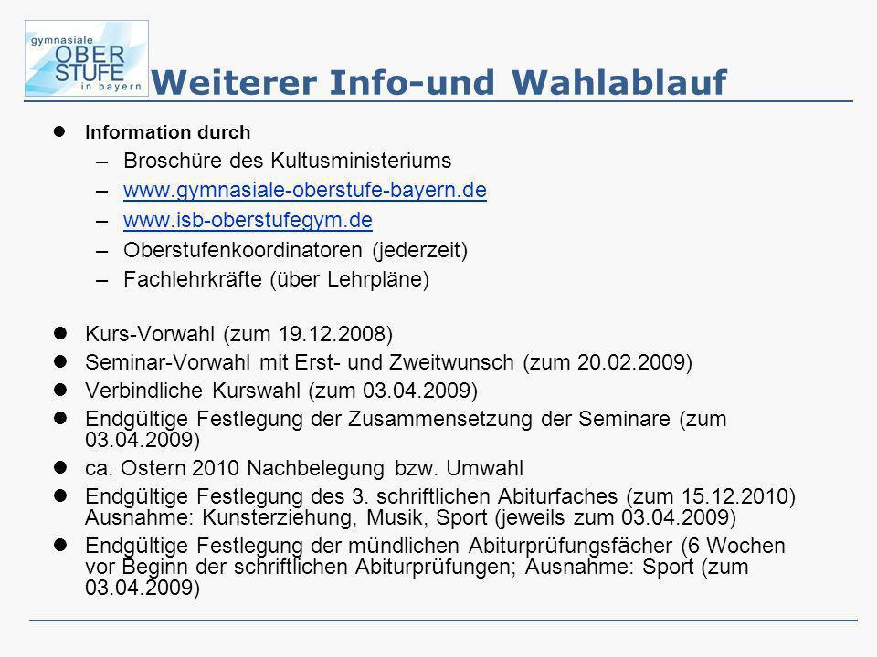 Weiterer Info-und Wahlablauf Information durch –Broschüre des Kultusministeriums –www.gymnasiale-oberstufe-bayern.dewww.gymnasiale-oberstufe-bayern.de