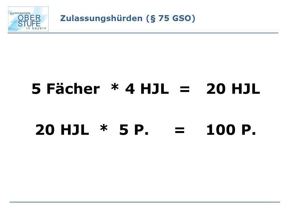 5 Fächer * 4 HJL = 20 HJL 20 HJL * 5 P. = 100 P. Zulassungshürden (§ 75 GSO)