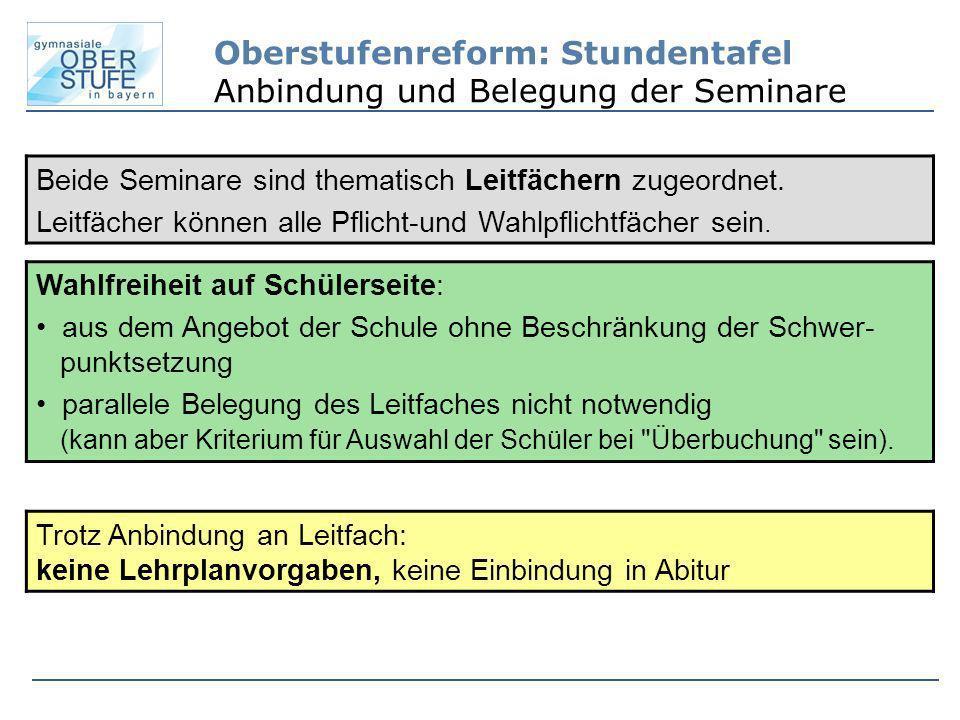 Oberstufenreform: Stundentafel Anbindung und Belegung der Seminare Beide Seminare sind thematisch Leitfächern zugeordnet. Leitfächer können alle Pflic
