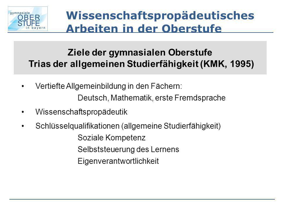 Wissenschaftspropädeutisches Arbeiten in der Oberstufe Ziele der gymnasialen Oberstufe Trias der allgemeinen Studierfähigkeit (KMK, 1995) Vertiefte Al