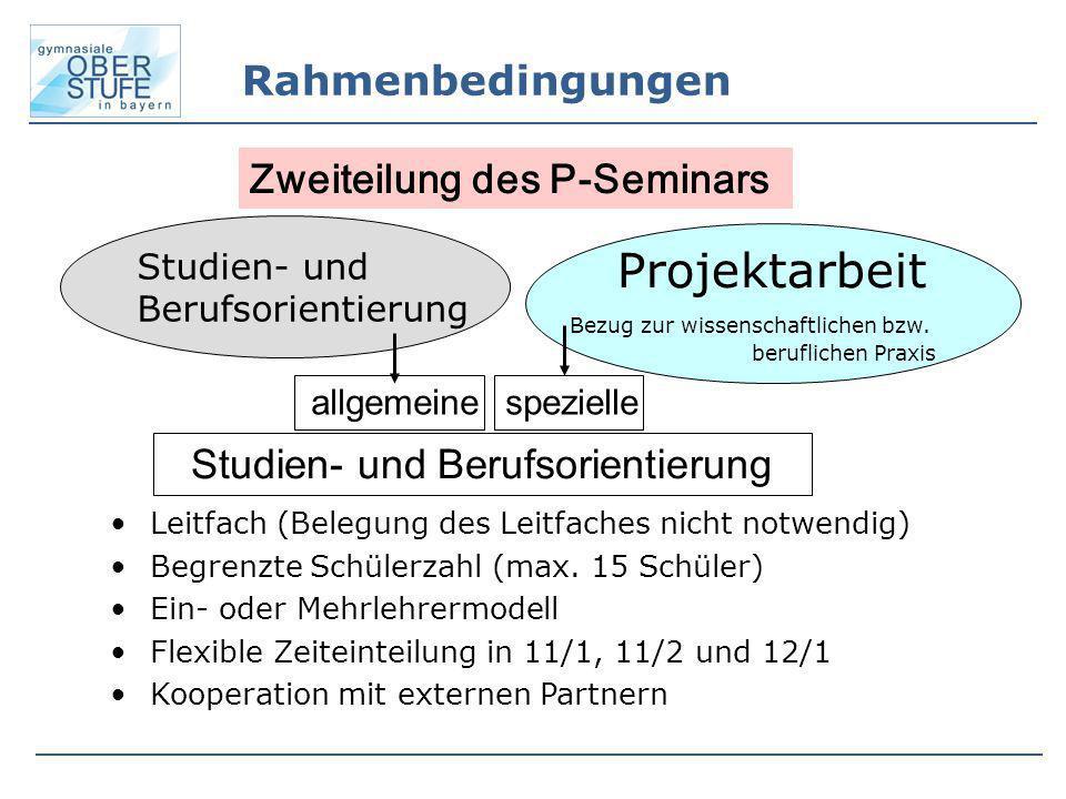 Rahmenbedingungen Studien- und Berufsorientierung Projektarbeit Bezug zur wissenschaftlichen bzw. beruflichen Praxis allgemeinespezielle Studien- und