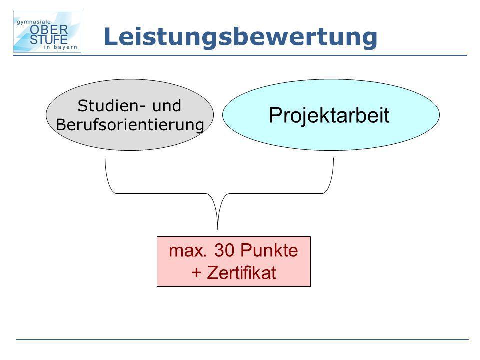Leistungsbewertung Studien- und Berufsorientierung Projektarbeit max. 30 Punkte + Zertifikat