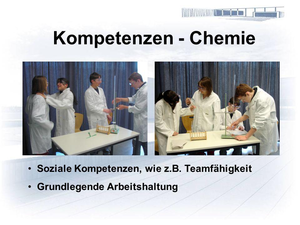 Kompetenzen - Chemie Soziale Kompetenzen, wie z.B. Teamfähigkeit Grundlegende Arbeitshaltung