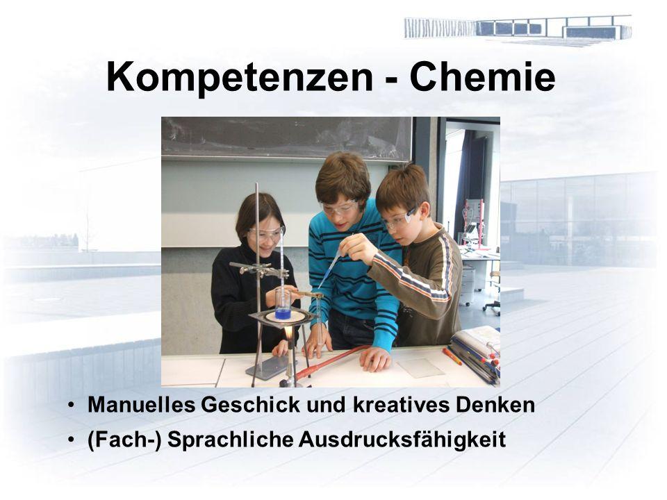 Kompetenzen - Chemie Manuelles Geschick und kreatives Denken (Fach-) Sprachliche Ausdrucksfähigkeit