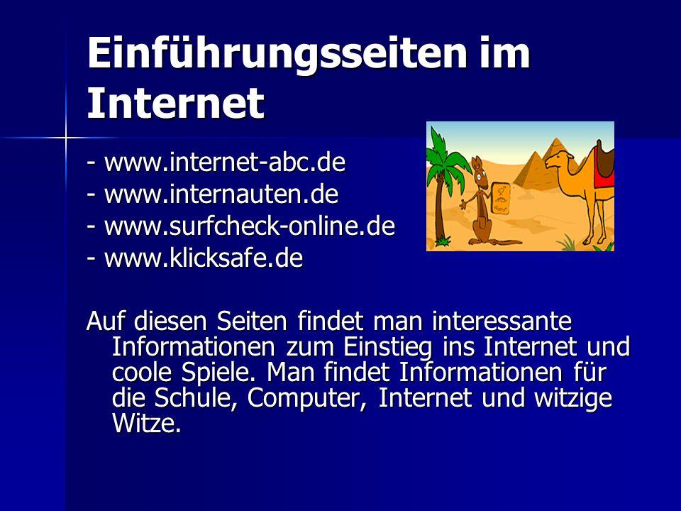 Einführungsseiten im Internet - www.internet-abc.de - www.internauten.de - www.surfcheck-online.de - www.klicksafe.de Auf diesen Seiten findet man int