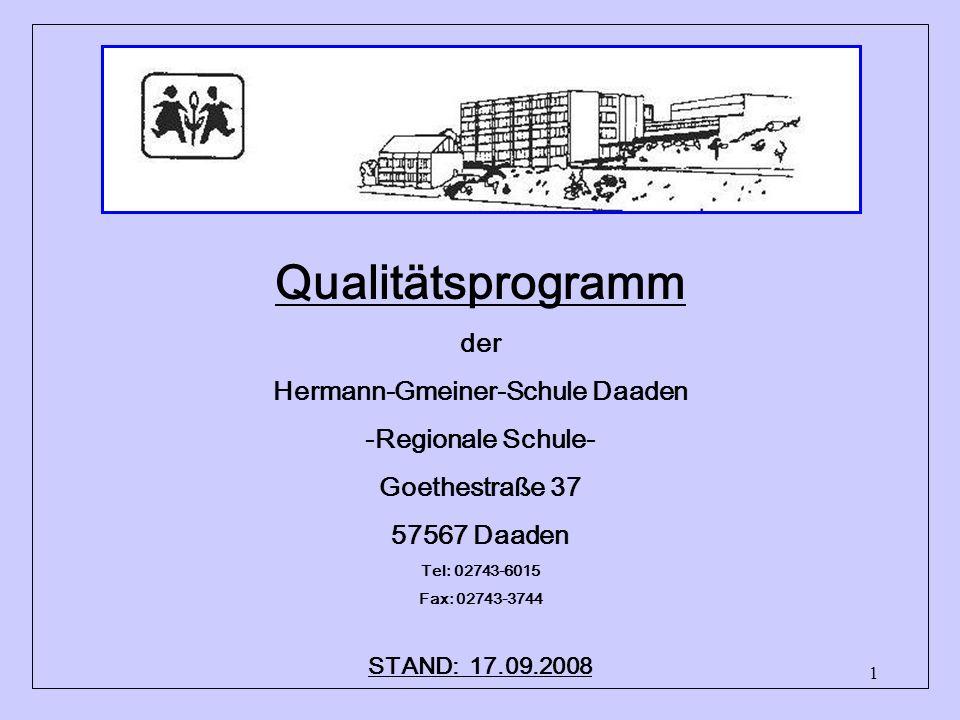 1 Qualitätsprogramm der Hermann-Gmeiner-Schule Daaden -Regionale Schule- Goethestraße 37 57567 Daaden Tel: 02743-6015 Fax: 02743-3744 info@regionale-schule-daaden.de STAND: 17.09.2008
