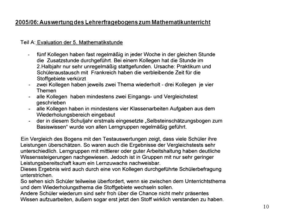 10 2005/06: Auswertung des Lehrerfragebogens zum Mathematikunterricht