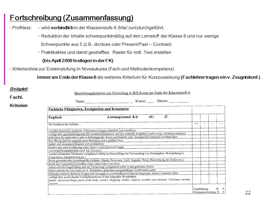 22 Fortschreibung (Zusammenfassung) - Profiltest: - wird verbindlich in der Klassenstufe 6 (Mai/Juni)durchgeführt.