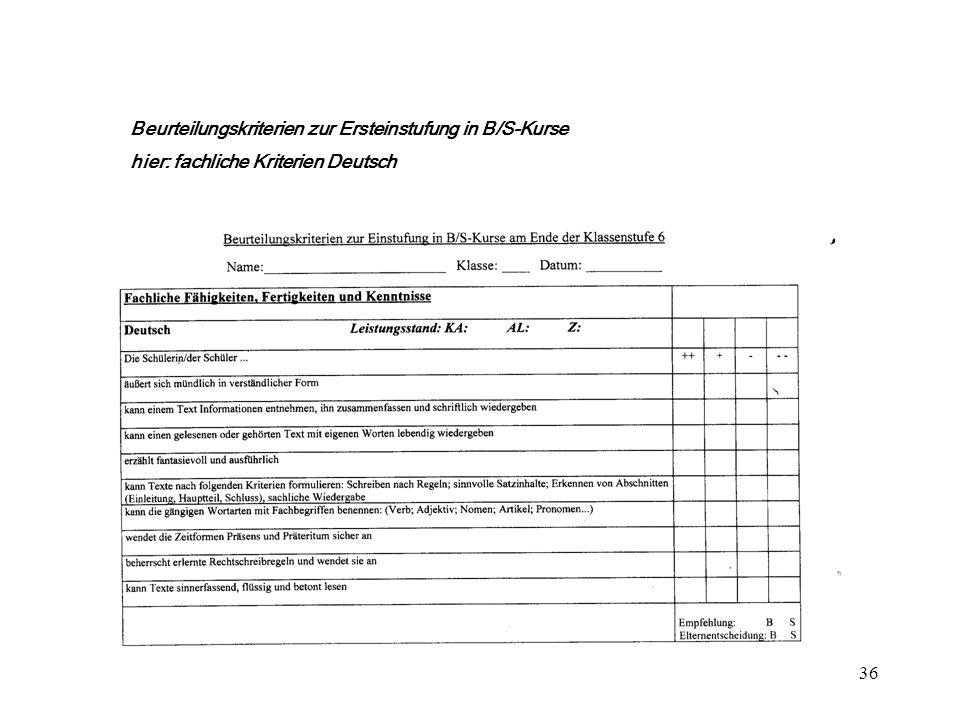 36 ++ + Beurteilungskriterien zur Ersteinstufung in B/S-Kurse hier: fachliche Kriterien Deutsch