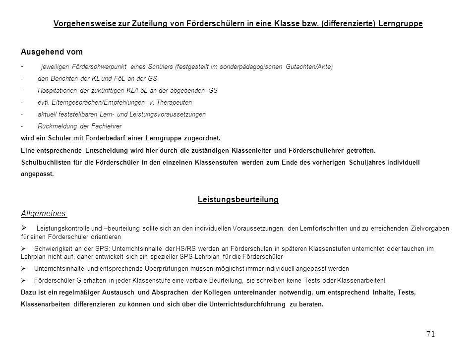 71 Vorgehensweise zur Zuteilung von Förderschülern in eine Klasse bzw.